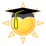 clip art image of a yellow sunshine with a graduation cap