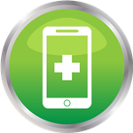 Icon with cell phone with medical sign on it
