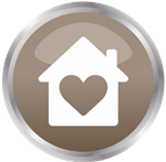 icon with a heart inside a house illustration