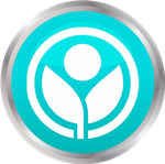 white icon on teal button depicting growth