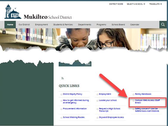 An image showing the placement of the link for staff email on the district web page.
