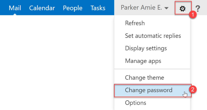 Outlook change password button.