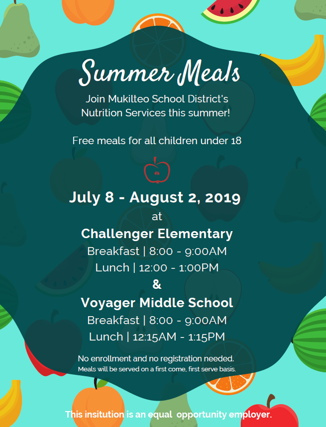 Free meals at Challenger and Voyager over the summer!