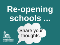 Graphic saying Re-opening schools, share your thoughts